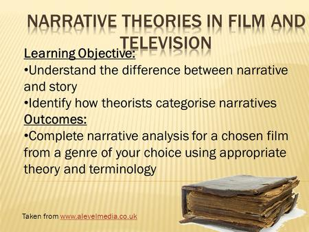 Learning Objective: Understand the difference between narrative and story Identify how theorists categorise narratives Outcomes: Complete narrative analysis.