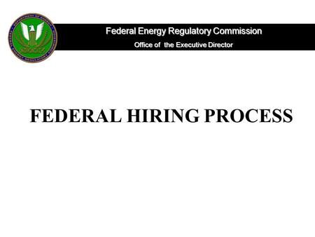FEDERAL HIRING PROCESS Federal Energy Regulatory Commission Office of the Executive Director.
