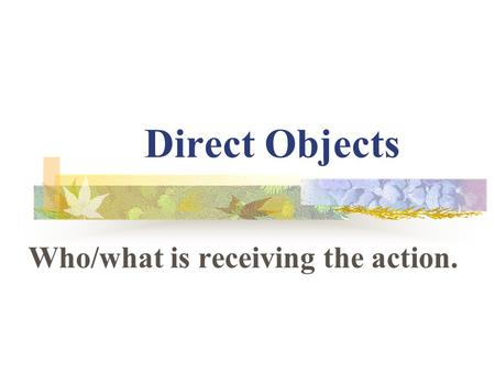 Direct Objects Who/what is receiving the action.
