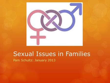 Sexual Issues in Families Pam Schultz: January 2013.
