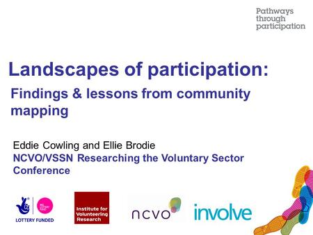 Landscapes of participation: Findings & lessons from community mapping Eddie Cowling and Ellie Brodie NCVO/VSSN Researching the Voluntary Sector Conference.