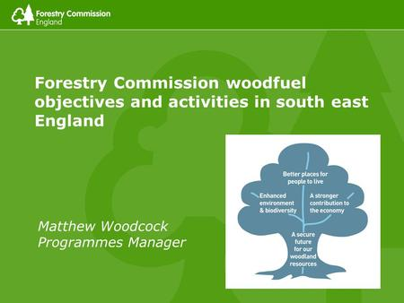 Forestry Commission woodfuel objectives and activities in south east England Matthew Woodcock Programmes Manager.
