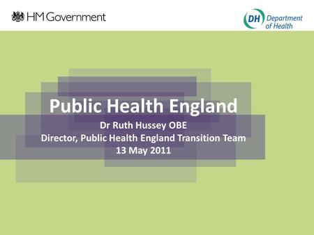 Click to edit Master title style Click to edit Master subtitle style Public Health England Dr Ruth Hussey OBE Director, Public Health England Transition.