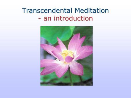 Transcendental Meditation - an introduction. Transcendental Meditation The plan  What is Transcendental Meditation?  What are the benefits?  How does.