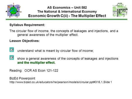 AS Economics – Unit 582 The National & International Economy Economic Growth C(ii) - The Multiplier Effect Syllabus Requirement: The circular flow of income,