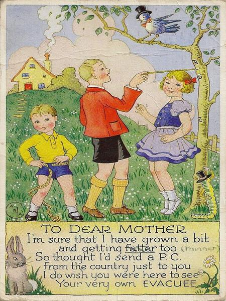 What does this postcard say about life in the country for evacuees?  What does it suggest about life as an evacuee?  What are the older boy and girl.