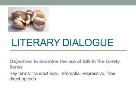 LITERARY DIALOGUE Objective: to examine the use of talk in The Lovely Bones Key terms: transactional, referential, expressive, free direct speech.