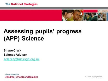 © Crown copyright 2008 Assessing pupils' progress (APP) Science Shane Clark Science Adviser