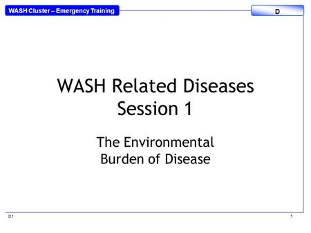 WASH Cluster – Emergency Training D D1 1 WASH Related Diseases Session 1 The Environmental Burden of Disease.