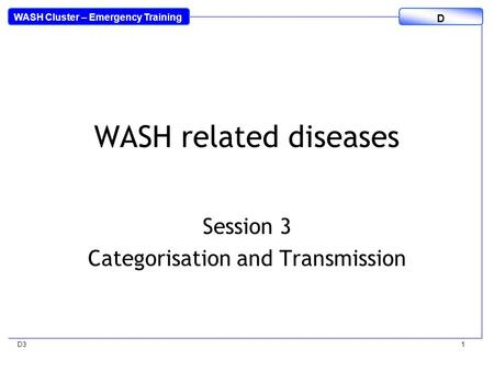 WASH Cluster – Emergency Training D D31 WASH related diseases Session 3 Categorisation and Transmission.