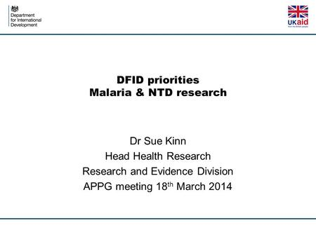 DFID priorities Malaria & NTD research