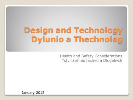 Design and Technology Dylunio a Thechnoleg