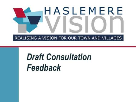 Draft Consultation Feedback. The Profile of Response 248 Questionnaires returned to date 56 incomplete 192 complete responses Haslemere 2011 population.