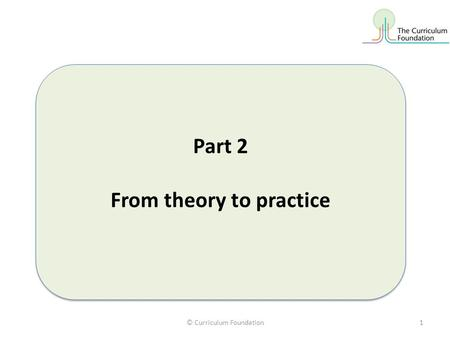 © Curriculum Foundation1 Part 2 From theory to practice Part 2 From theory to practice.