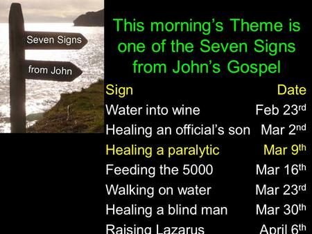 SignDate Water into wine Feb 23 rd Healing an official's son Mar 2 nd Healing a paralyticMar 9 th Feeding the 5000Mar 16 th Walking on waterMar 23 rd Healing.