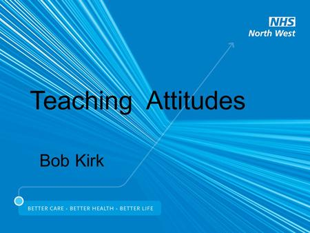 Teaching Attitudes Bob Kirk. Attitudes A framework of values and beliefs Components (can be positive or negative) Emotions Behaviours Thoughts Attitudes.