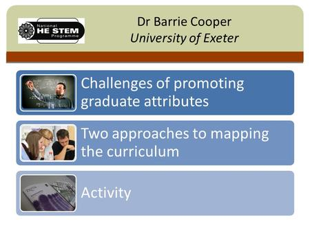 Click to edit Master title style Dr Barrie Cooper University of Exeter Challenges of promoting graduate attributes Two approaches to mapping the curriculum.
