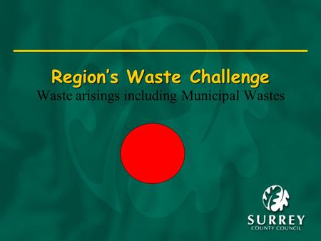 Region's Waste Challenge Waste arisings including Municipal Wastes.