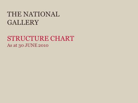 THE NATIONAL GALLERY STRUCTURE CHART As at 30 JUNE 2010.