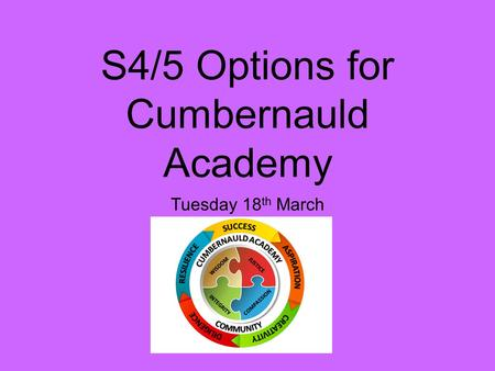 S4/5 Options for Cumbernauld Academy Tuesday 18 th March.