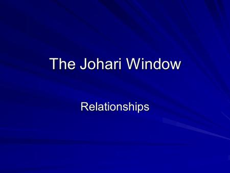 The Johari Window Relationships. What is it and why use it? A Johari window is a metaphorical tool created in 1955 in the United States, used to help.