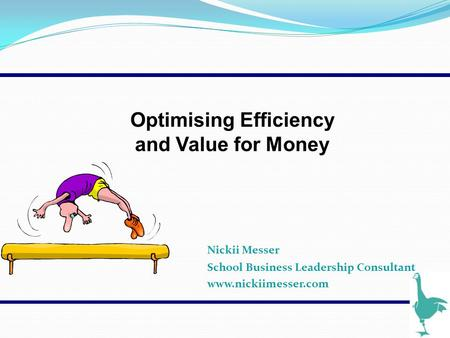 Nickii Messer School Business Leadership Consultant www.nickiimesser.com Optimising Efficiency and Value for Money.