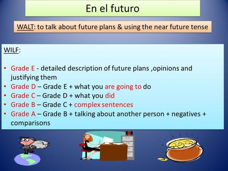 En el futuro WALT: to talk about future plans & using the near future tense WILF: Grade E - detailed description of future plans,opinions and justifying.