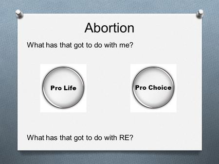 Abortion What has that got to do with me?
