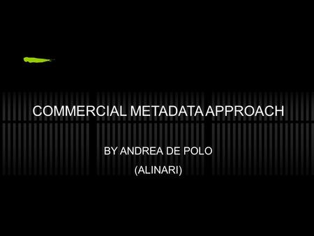 COMMERCIAL METADATA APPROACH BY ANDREA DE POLO (ALINARI)