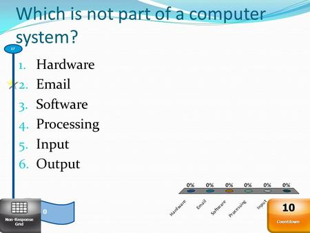 Which is not part of a computer system? 1. Hardware 2. Email 3. Software 4. Processing 5. Input 6. Output 0 17 Non-Response Grid Countdown 10.