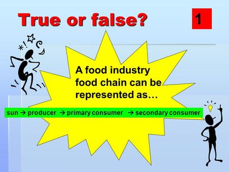 True or false? A food industry food chain can be represented as… sun  producer  primary consumer  secondary consumer 1.