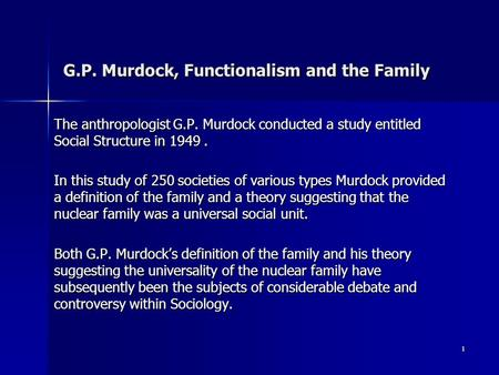 G.P. Murdock, Functionalism and the Family