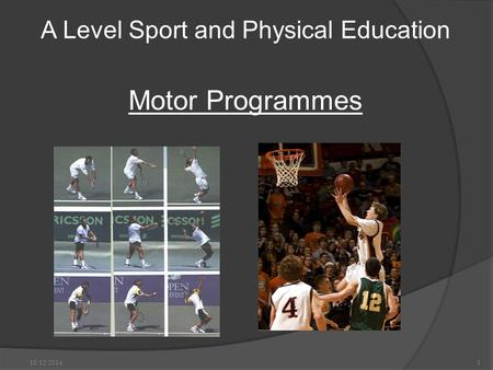 A Level Sport and Physical Education Motor Programmes 10/12/2014.1.