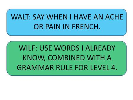 WALT: SAY WHEN I HAVE AN ACHE OR PAIN IN FRENCH. WILF: USE WORDS I ALREADY KNOW, COMBINED WITH A GRAMMAR RULE FOR LEVEL 4.