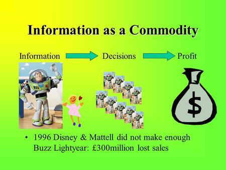 Information as a Commodity Information Decisions Profit 1996 Disney & Mattell did not make enough Buzz Lightyear: £300million lost sales.