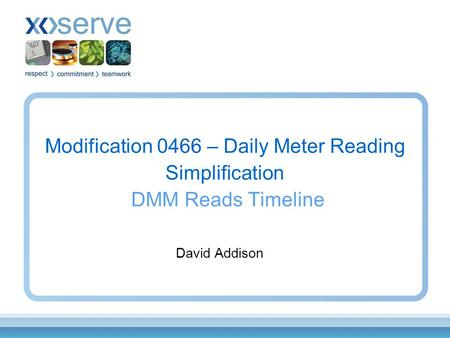 Modification 0466 – Daily Meter Reading Simplification DMM Reads Timeline David Addison.