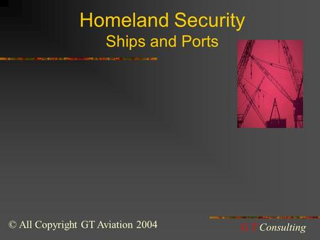 Homeland Security Ships and Ports © All Copyright GT Aviation 2004 G.T Consulting.