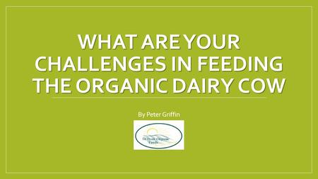 WHAT ARE YOUR CHALLENGES IN FEEDING THE ORGANIC DAIRY COW By Peter Griffin.