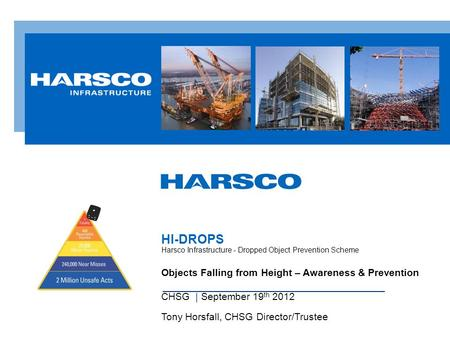 Objects Falling from Height – Awareness & Prevention CHSG | September 19 th 2012 Tony Horsfall, CHSG Director/Trustee HI-DROPS Harsco Infrastructure -