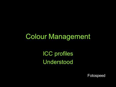 ICC profiles Understood