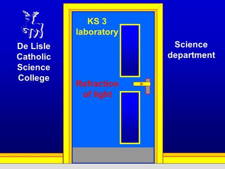 KS 3 laboratory Refraction of light De Lisle Catholic Science College Science department.