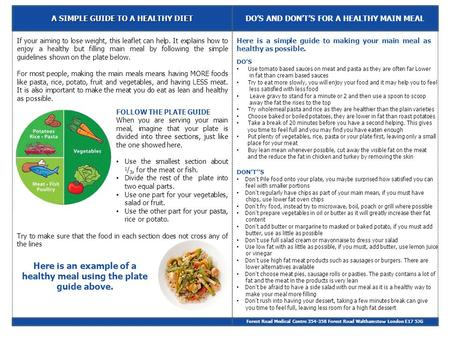 A SIMPLE GUIDE TO A HEALTHY DIET DO'S AND DON'T'S FOR A HEALTHY MAIN MEAL Forest Road Medical Centre 354-358 Forest Road Walthamstow London E17 5JG If.