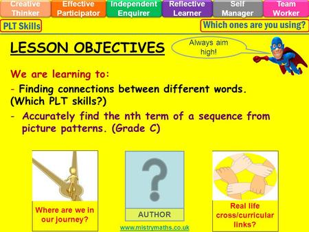 We are learning to: - Finding connections between different words. (Which PLT skills?) -Accurately find the nth term of a sequence from picture patterns.
