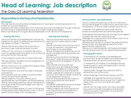 Head of Learning: Job description Responsible to the Executive Headteacher Job purpose  Provide inspirational and professional leadership which secures.