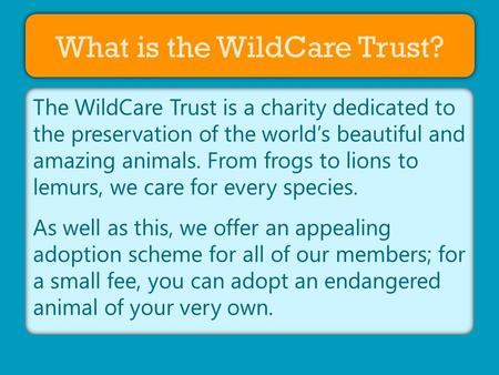 About Us What is the WildCare Trust? The WildCare Trust is a charity dedicated to the preservation of the world's beautiful and amazing animals. From frogs.