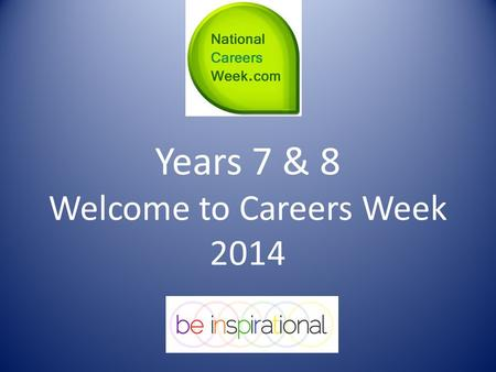 Years 7 & 8 Welcome to Careers Week 2014. Thinking About Your Future Now!