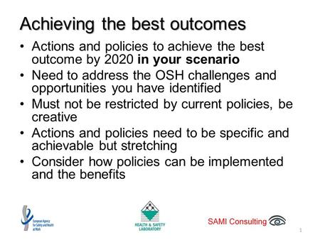 Achieving the best outcomes Actions and policies to achieve the best outcome by 2020 in your scenario Need to address the OSH challenges and opportunities.