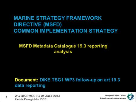 1 MARINE STRATEGY FRAMEWORK DIRECTIVE (MSFD) COMMON IMPLEMENTATION STRATEGY MSFD Metadata Catalogue 19.3 reporting analysis Document: DIKE TSG1 WP3 follow-up.