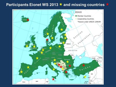 Participants Eionet WS 2013 and missing countries.