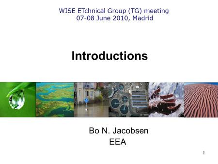 1 Introductions Bo N. Jacobsen EEA WISE ETchnical Group (TG) meeting 07-08 June 2010, Madrid.